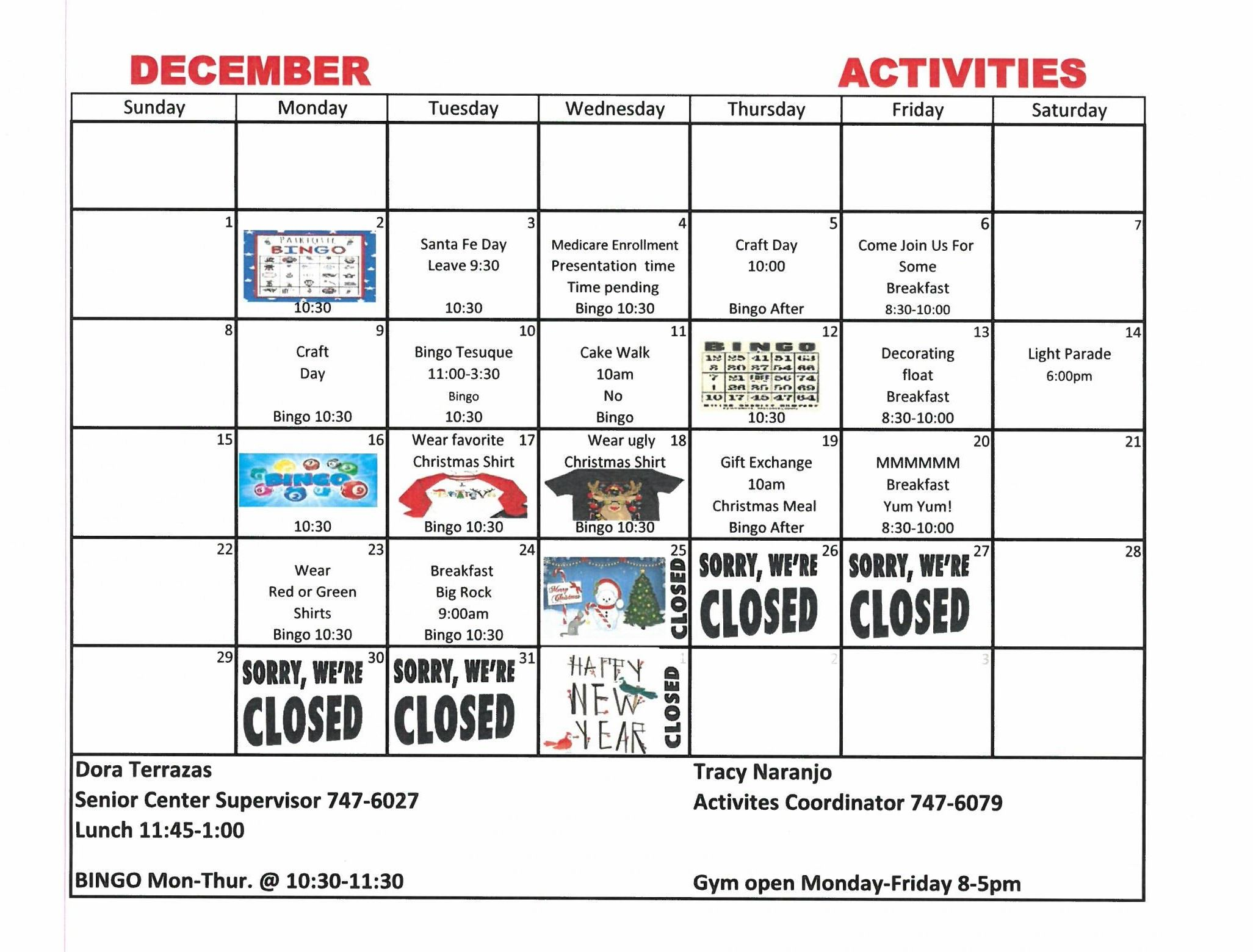 Senior Center Activities  Dec