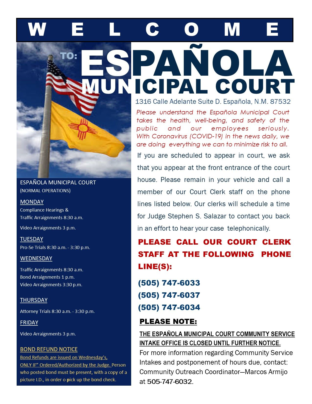 Municipal Court Website info due to COVID-19pub